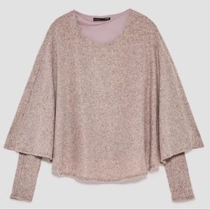 Zara Cape Poncho Sweater With Long Sleeves